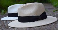 Classic Mens Straw Fedora Hat, Wide Brim Panama Hat, Summer Dress Hat Epf2690