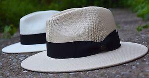 Image is loading Classic-Mens-Straw-Fedora-Hat-Wide-Brim-Panama- c6504586c30