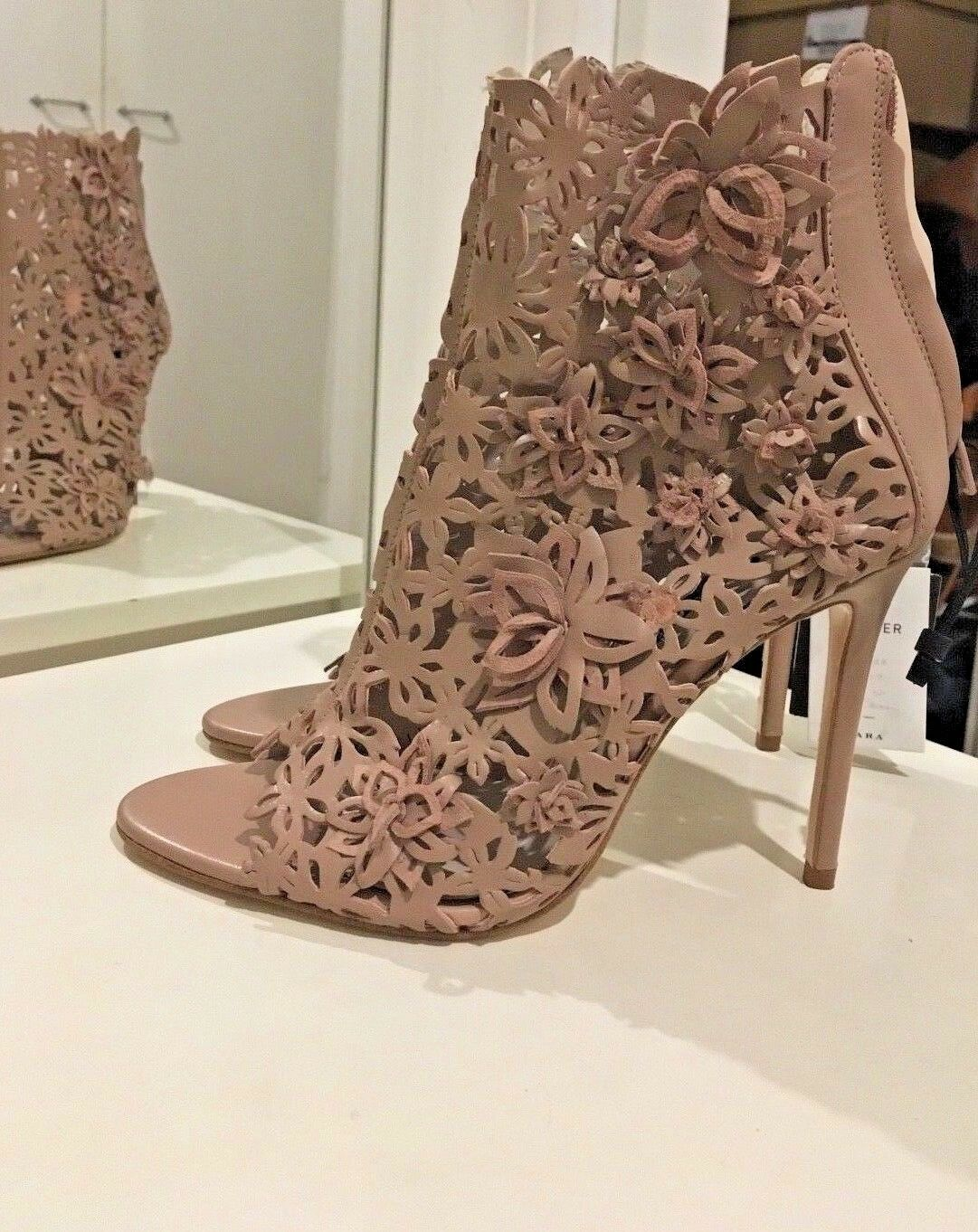 ZARA NUDE WRAPAROUND LEATHER HIGH-HEEL SANDALS WITH FLOWERS SIZE 39,40