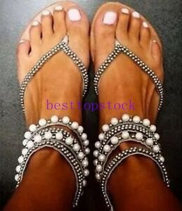 Women-039-s-Gladiator-Beads-Flip-Flops-Sandal-Boho-Flat-Heel-roman-Plus-size-Shoes