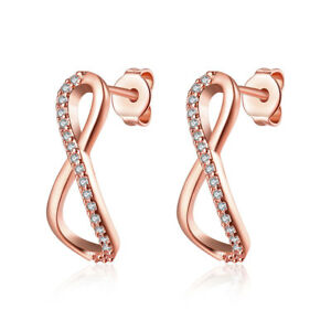 6973021c07260 Details about Rose Gold Infinity Drop Earrings with Crystals from Swarovski®