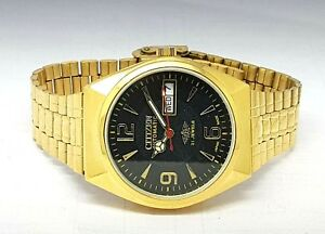 CITIZEN-AUTOMATIC-MEN-S-GOLD-PLATED-DAY-DATE-BLACK-DIAL-WRIST-WATCH