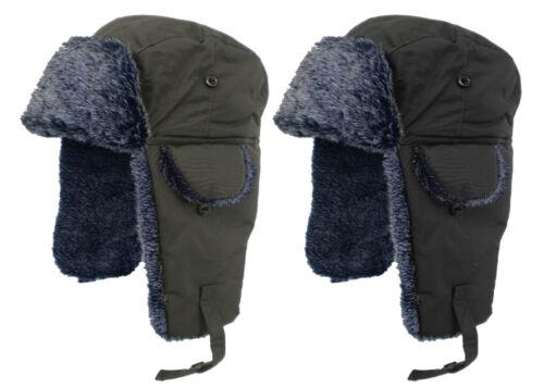 Men/'s//Women/'s//Adult Waterproof Winter Trapper Hat With Gray Faux Fur Trim