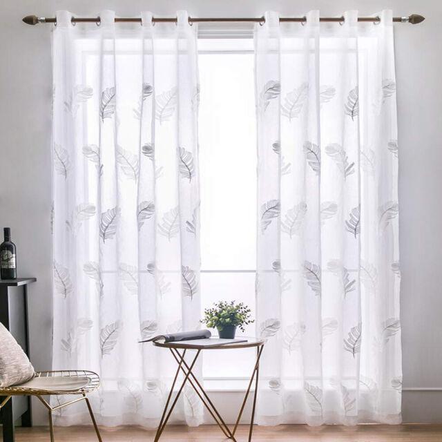 Wicker Printed Windows Living Room Bedroom Sheer Voile Curtains