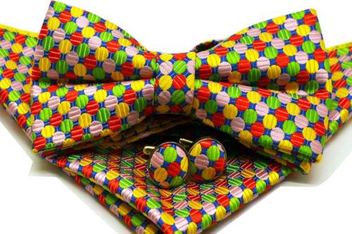 Colourful Polka Dot Bow Tie Set with Cufflinks Pocket Square Wedding Bowtie Set