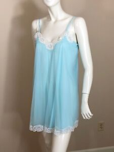 NWT-Vintage-60s-VAN-RAALTE-Baby-Doll-Gown-Nightgown-Sheer-Blue-Chiffon-NEW