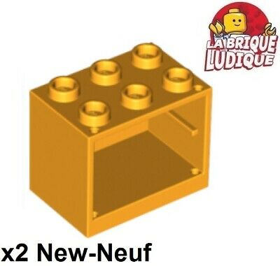 2x Container coffre box cupboard 2x3x2 orange 4532 NEUF Lego