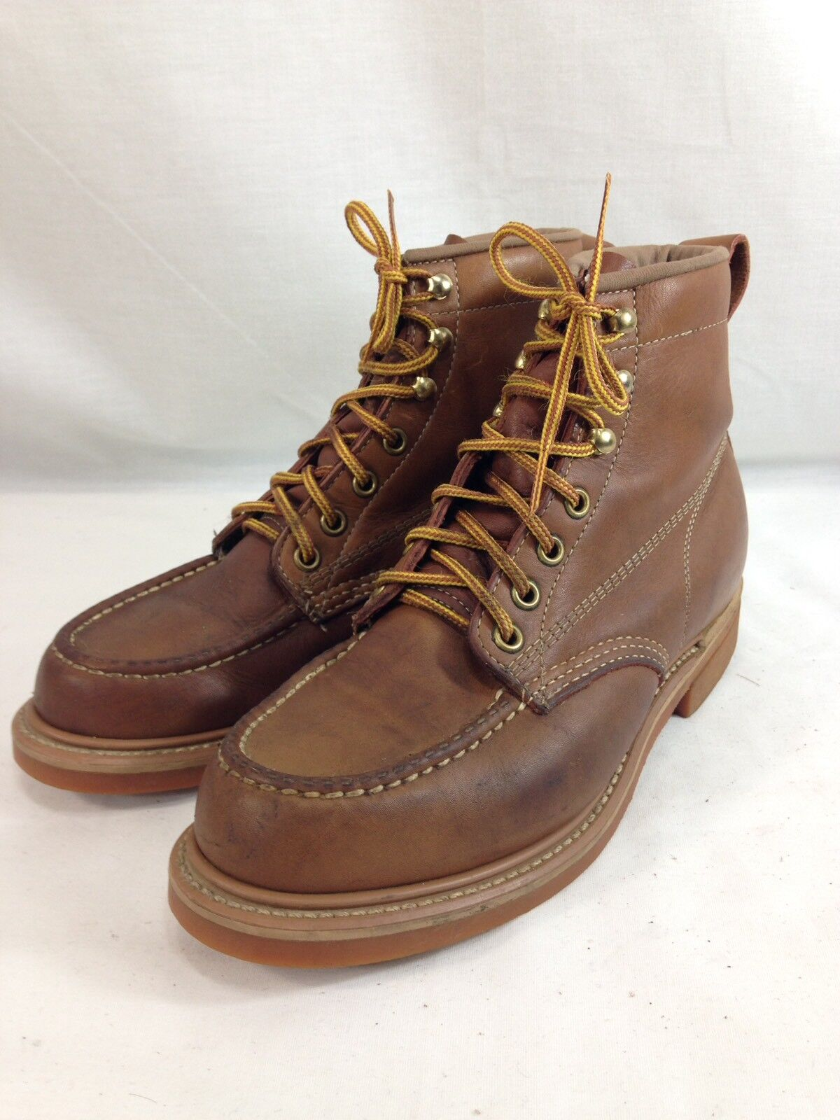 Unbranded Work Boots shoes Mens 6 Womens  7.5 Brown Leather Moc Toe Vibram Sole  online cheap