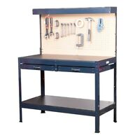 Multipurpose Workbench - W/13 Watt Light/peg Board/2 Drawers/2 Storage Shelves