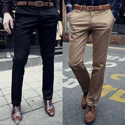 Fashion Mens Formal Business Pants Slim Fit Straight Jeans Solid Slacks Trousers