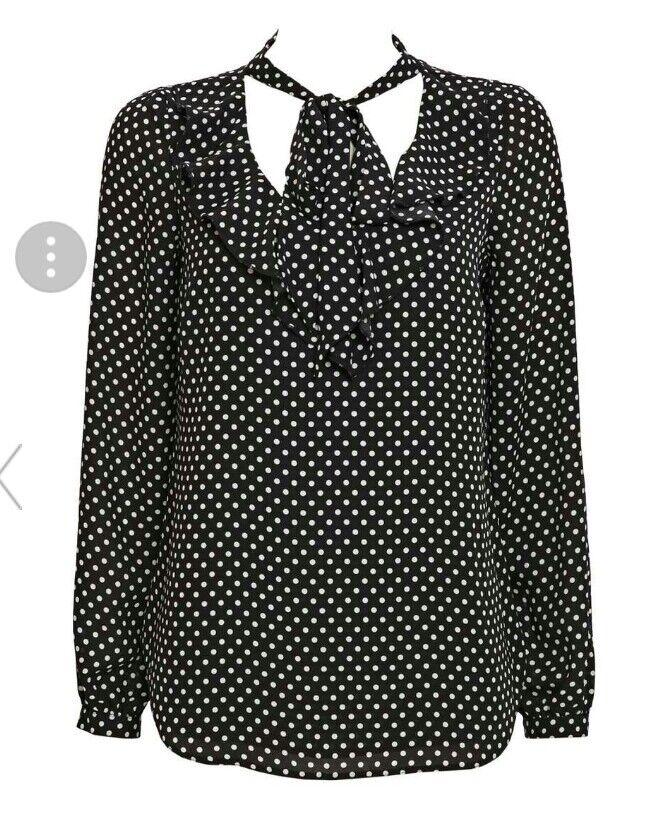 30 # Wallis Noir Polka Dot Ruffle Col Cravate Femme Taille Uk10 Rrp £ 33