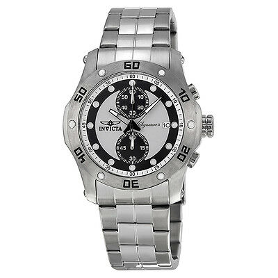 Invicta Signature II Chronograph Black and Silver Dial Stainless Steel Mens