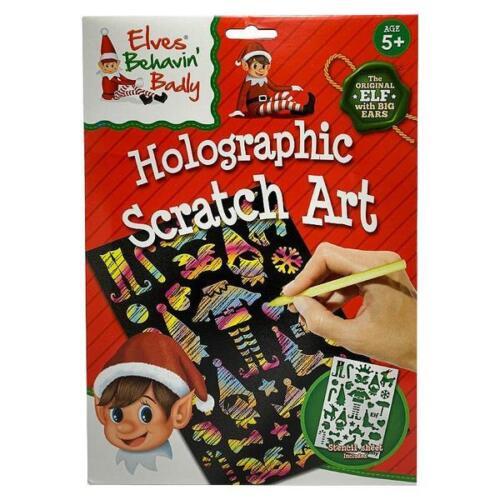 2 X Elves Behavin/' Badly Christmas Arts Elf Holographic Scratch Art