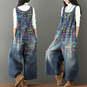 Womens Floral Denim Rompers Jumpsuits Overalls Wide Leg Pants Jeans