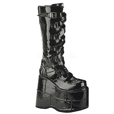DEMONIA STACK 308 Ladies BLACK Patent Goth Punk  Cyber Platform Boots