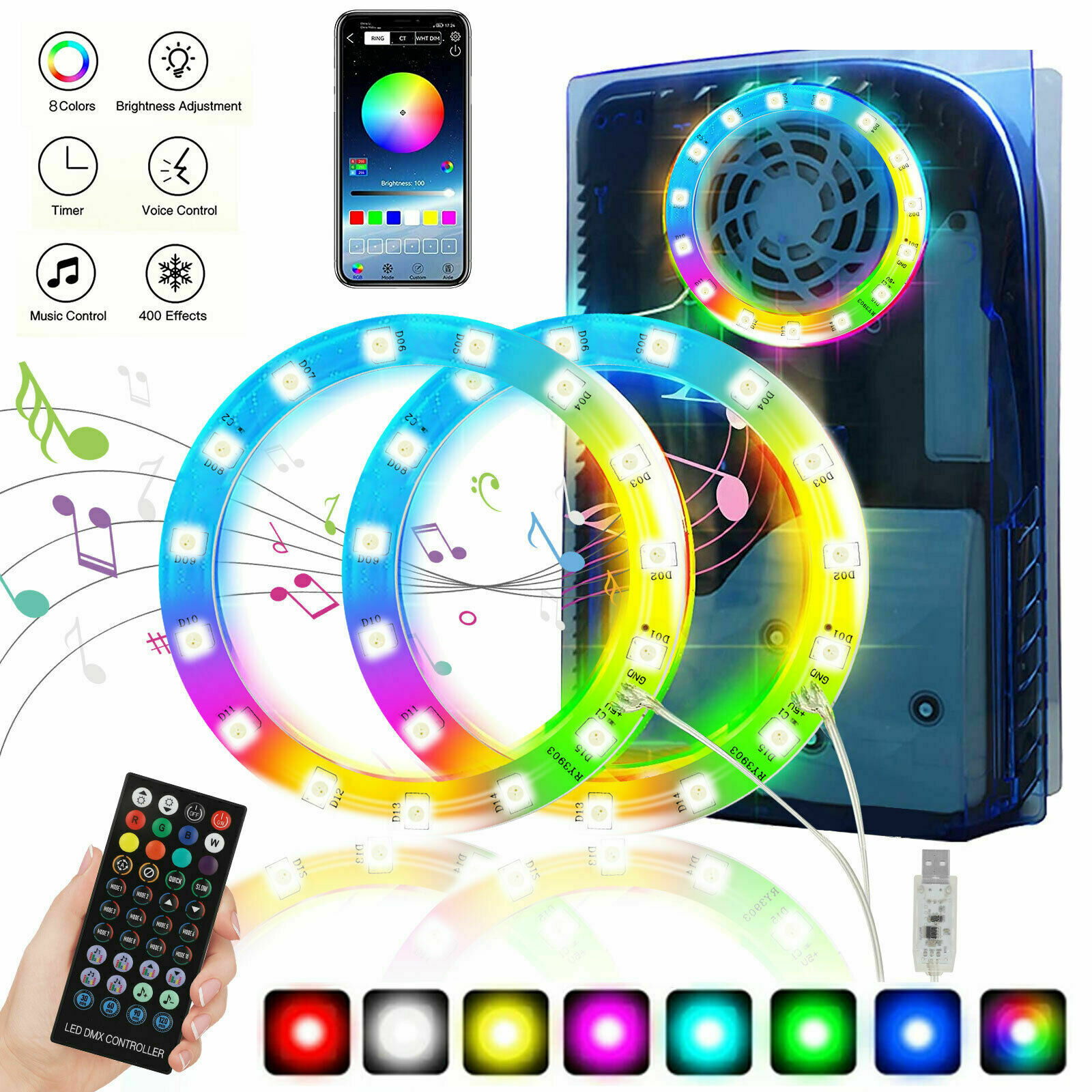 8 Colors LED Light Strip 5050 RGB Lights Sync Music 400 Effects for PS5 Console