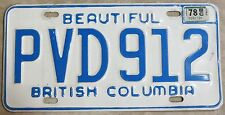 Vintage BEAUTIFUL British Columbia, PVD 912, 78 Tag, BC CANADA License Plate
