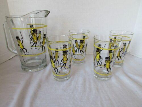 5 Piece Set Planters Mr Peanut Glass Pitcher /& 4 Glasses Tumblers Nabisco NIB