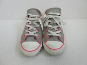 Converse-All-Star-Junior-Size-US-4-UK-3-5-Grey-Pink-Yellow-Laces-Tennis-Athletic