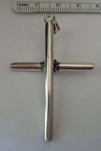 Sterling Silver 3D Large 47x31mm Unusual Pipe Cross Charm