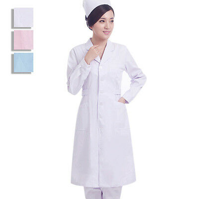 New Women Doctor Nurse Uniform Coat Pharmacist Medical Gown Nursing Long Jacket