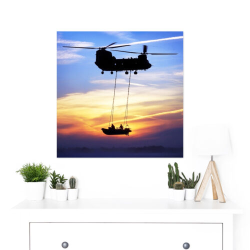 Military UK Chinook Helicopter Royal Marines Large Wall Art Print Square 24X24