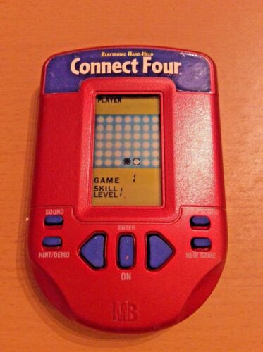 Connect Four Hasbro Electronic Handheld 2002 Travel Word Game Red Blue
