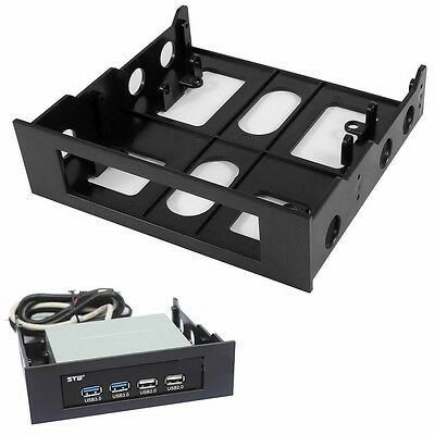"""3.5"""" to 5.25"""" Drive Bay Computer Case Adapter Mounting Bracket USB Hub Floppy"""