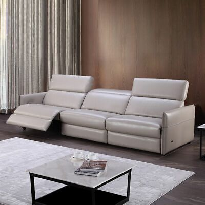 Living Room Sofas Chairs Home Furnitures 3-Seater Leather Reclining Modern  Couch | eBay