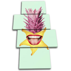 Pineapple-Mouth-Lips-Fruit-Food-Kitchen-MULTI-CANVAS-WALL-ART-Picture-Print