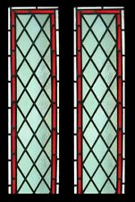 Victorian Pair Antique English Green Diamonds Stained Glass Windows Sidelights