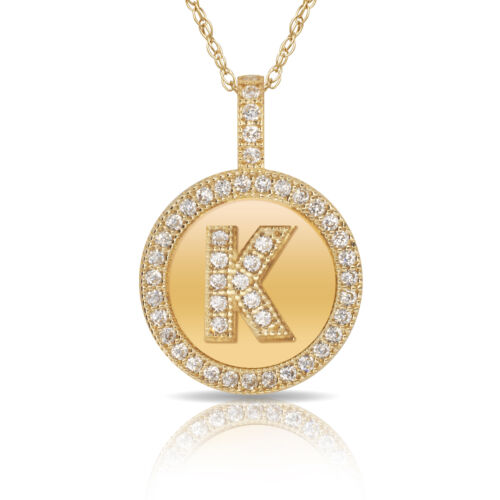 """14K Solid Yellow Gold Round Circle Initial /""""K/"""" Letter Charm Pendant Necklace"""