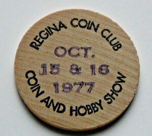 1977-Regina-Coin-Club-genuine-wooden-nickel-bi-annual-fall-hobby-show