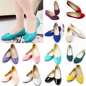 Femme-Mocassins-Plats-Ballerines-Nuptial-Uni-Chaussures-a-Enfiler-Taille