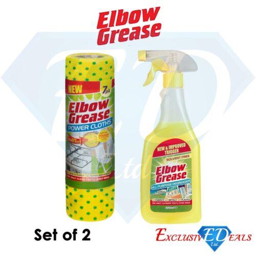 Elbow Grease Trigger 500ml /& Reusable Power Cloths 7pk Set