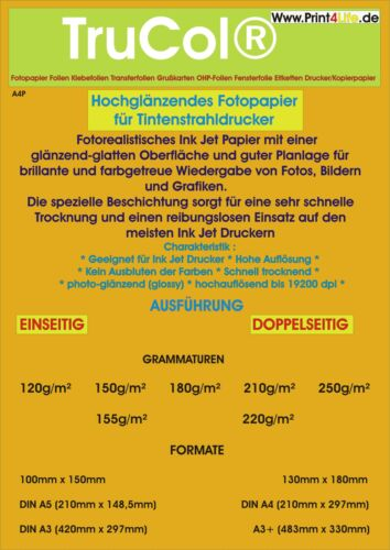 Fotopapier DIN A4 A3 einseitig beidseitig hochglänzend High glossy Inkjet Tinte