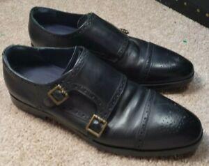 COLE-HAAN-Black-Leather-Mens-Cap-Toe-Double-Monk-Strap-Dress-Shoes-11-5-M