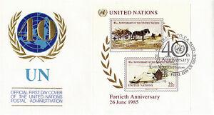 40th-Nacoes-Unidas-1985-Aniversario-Da-Onu-Folha-Miniatura-Fdc-San-Francisco
