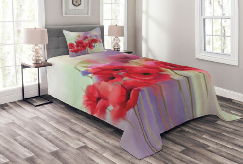 Poppy Quilted Bedspread /& Pillow Shams Set Spring Flowers Romantic Print
