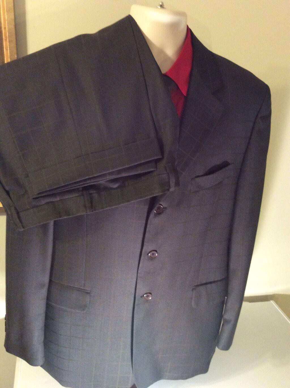 BERNINI SUPER 120s, 44 Long Olive Grün, Farbe, Pant's Suit, 3 Button Vent side