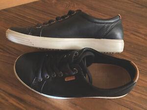 ECCO Black Leather Tennis Sneakers