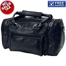 "12"" Genuine Black Leather Mens Toiletry Bag Shaving Kit Travel Dopp Organizer"
