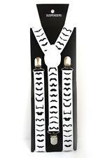 White Black Mustache Adjustable Braces Suspenders Mens Womens Fancy Dress 2.5cm