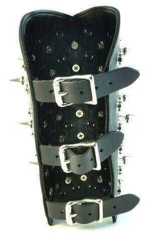 Spike Stud Gauntlet Genuine Leather 3 Buckle Punk Gothic Thrash Heavy Metal