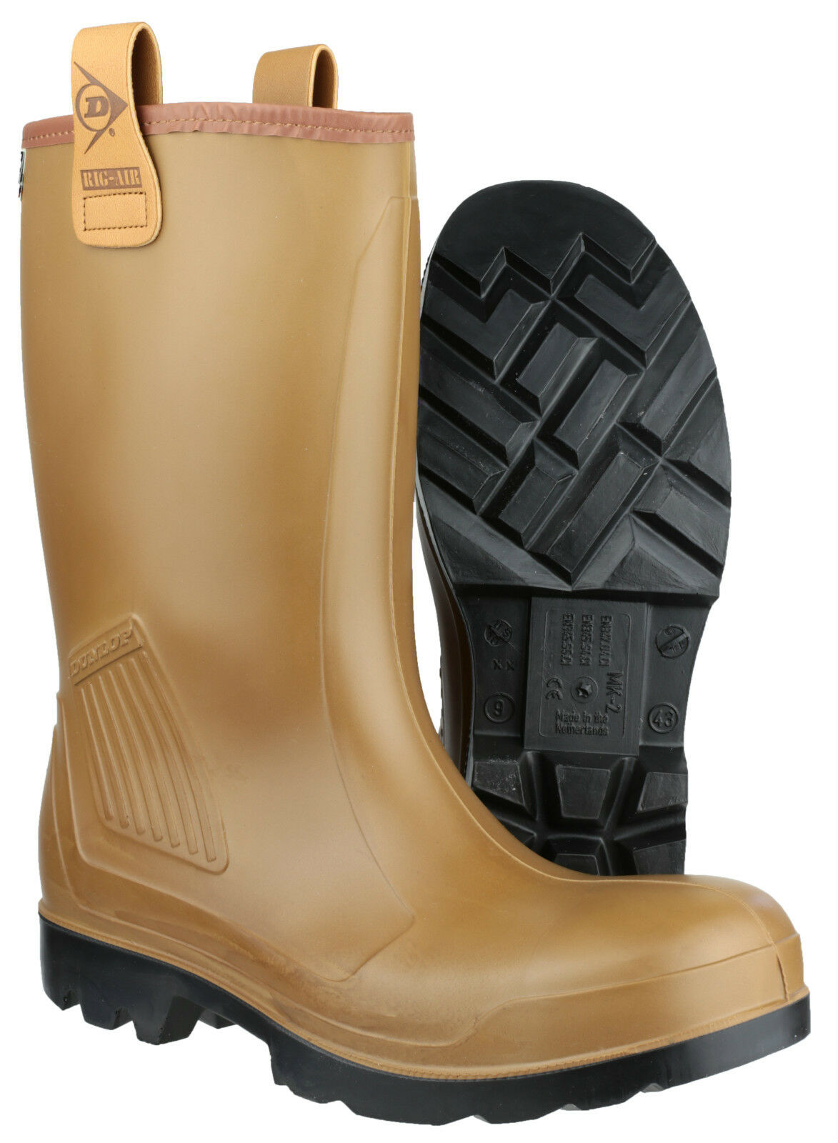 Dunlop Purofort Rig Air Full Pull Safety Mens Pull Full On Industrial Wellingtons UK6-13 f2a176