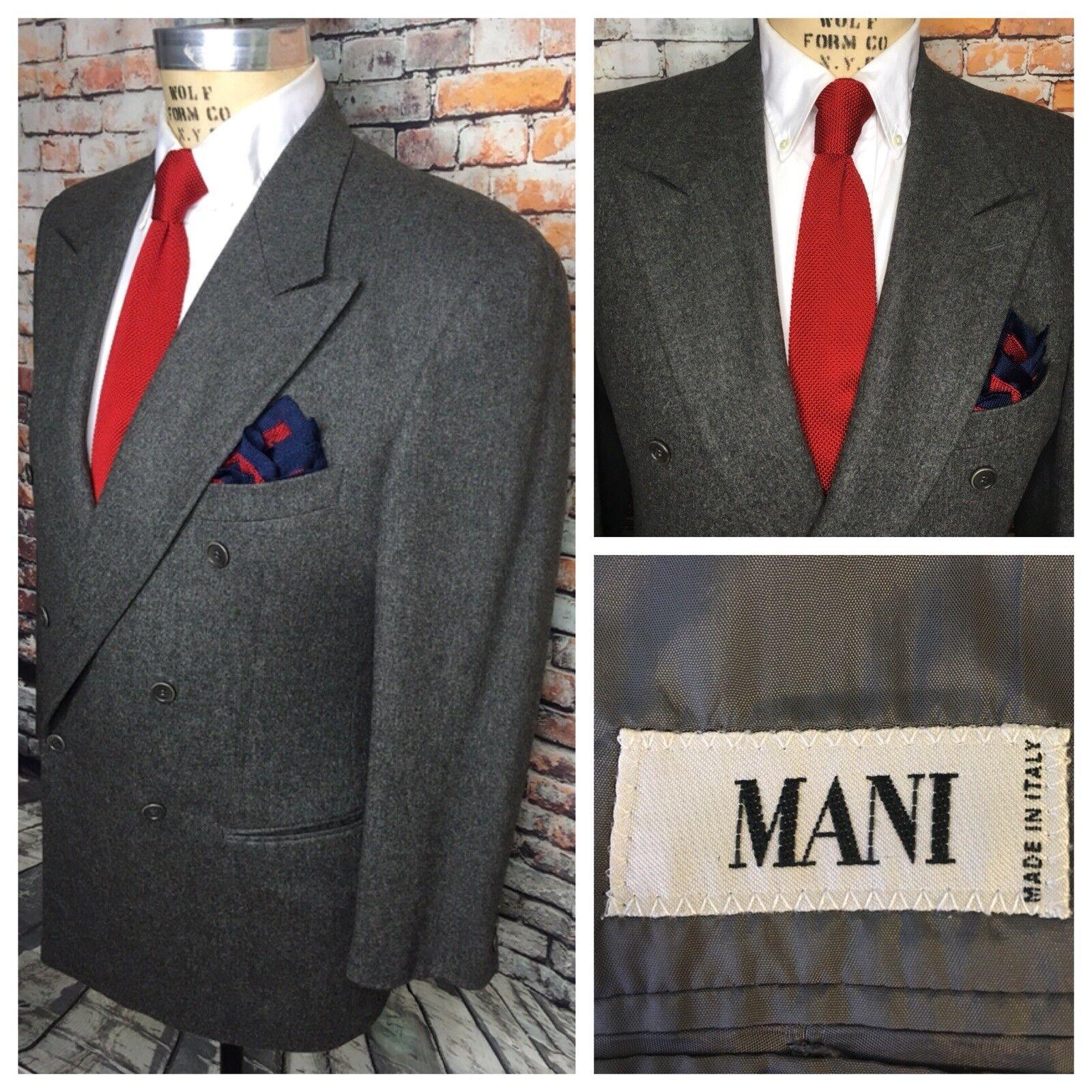 Mani Giorgio Armani Mens Größe 42L grau Double Breasted Flannel Blazer Jacket