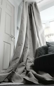 Grey 100 Linen 52 Width 90 Long Blackout Thermal Lined Curtains