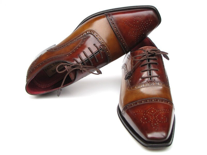 Paul Parkman Men's Captoe Oxfords - Camel   Red Hand-Painted Leather Upper and L