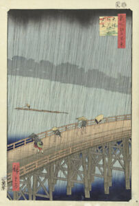 Unexpected Rainfall Big Bridge Atake 1857 Japan by Hiroshige 7x5 Inch Print