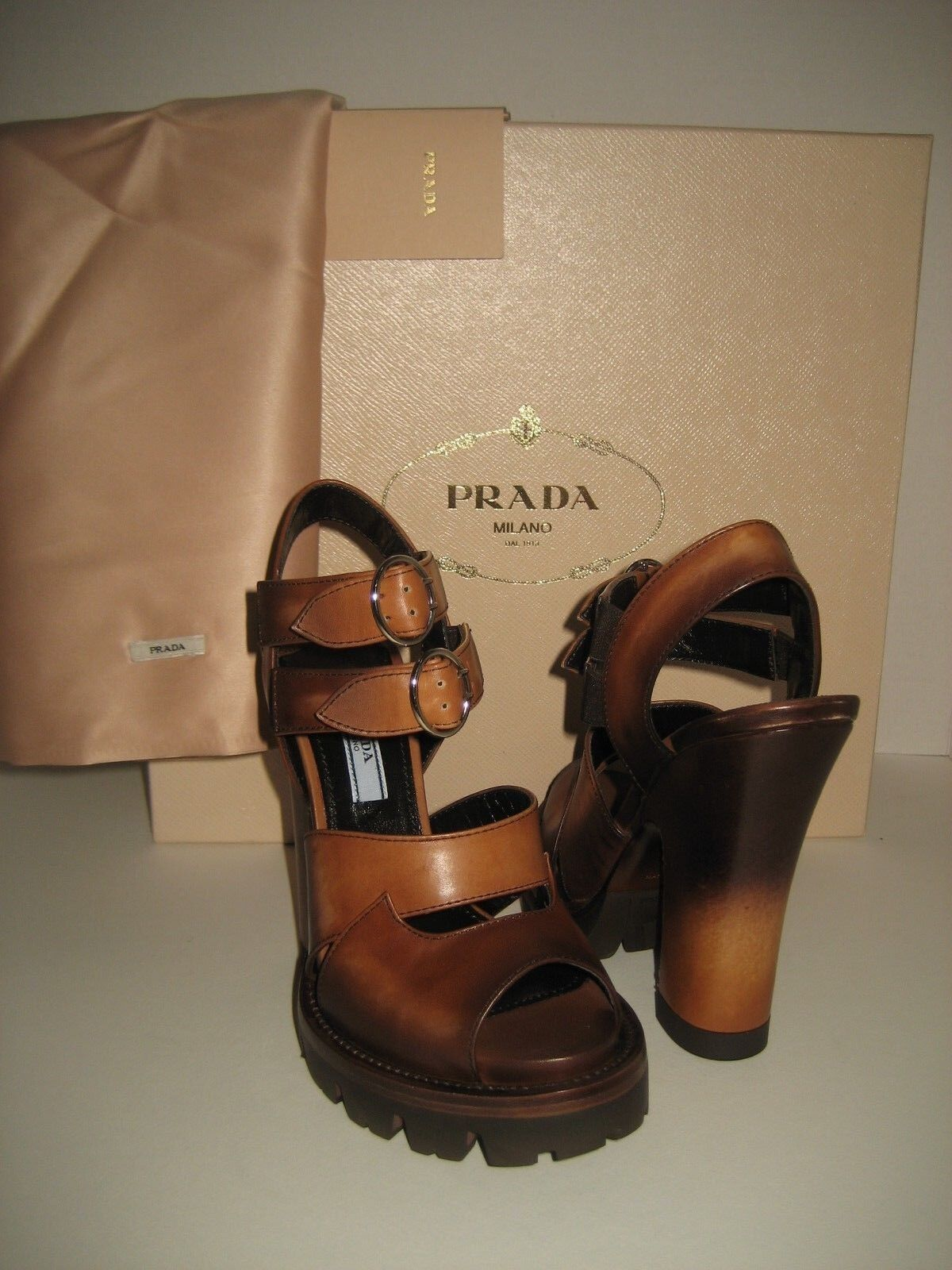 700 NEW PRADA Women US 5 Brown Leather Ankle Strap High Heel Sandals shoes Box bac507